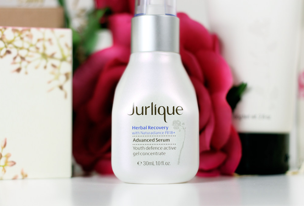 A beauty blogger writes about a Jurlique skincare routine including Herbal Recovery, Rose Powered Hydration, Rosewater Balancing Mist, Purifying Mask and more