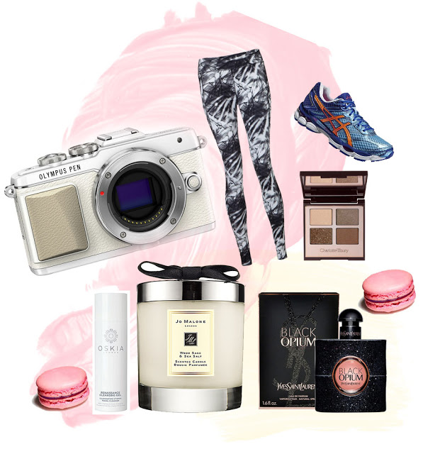 Beauty blogger writes a post on her birthday wish list including Olympus Pen camera, Jo Malone, Macaroons, Charlotte Tilbury make-up, and Sweaty Betty leggings