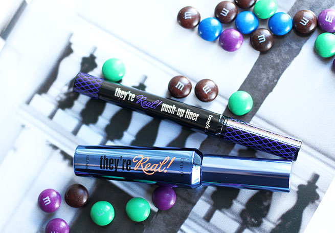Beauty blogger reviews the new Benefit Cosmetics They're Real Mascaras and Liners in Beyond Blue and Beyond Purple