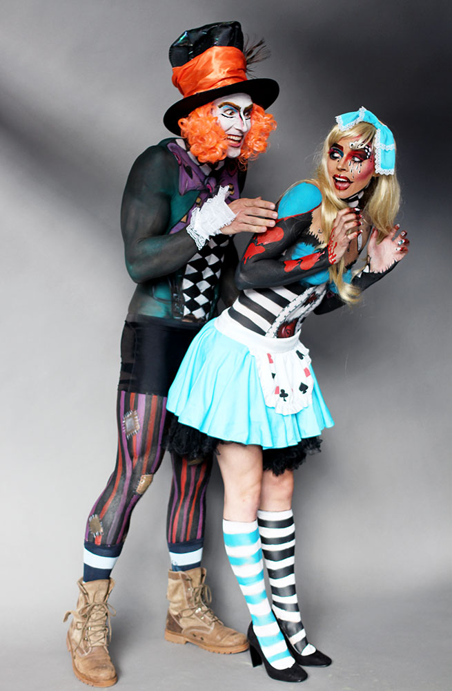 Make-up Artists Zoe Newlove and Anna Lingis bodypainted for Crownbrush UK at IMATS London 2015. They created a Mad Hatter and a Twisted Alice.