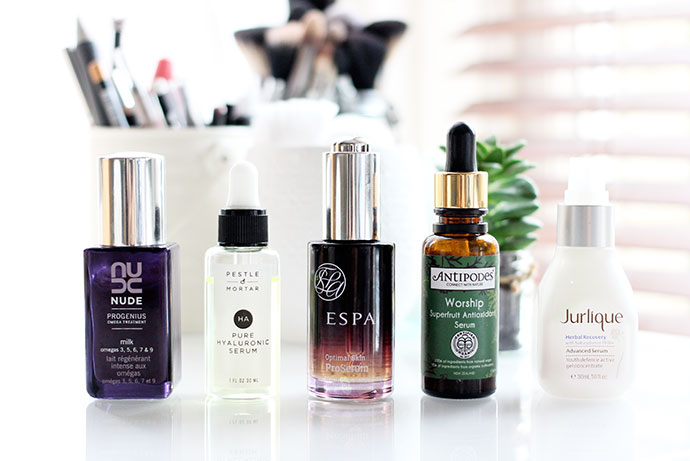 Beauty-blogger-reviews-a-selection-of-5-Natural-Serums including Jurlique, Pestle and Mortar, Nude Skincare and Antipodes