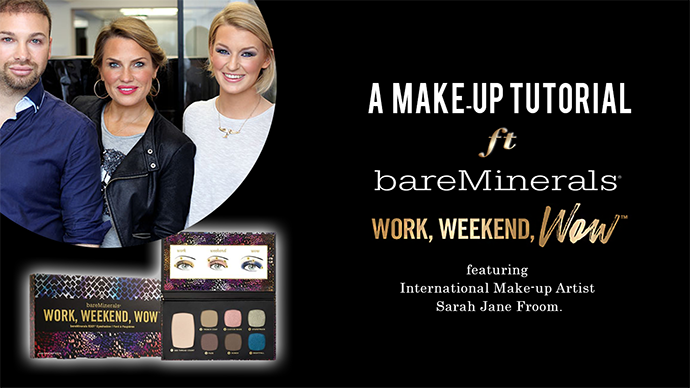 Zoe Newlove films with bareMinerals and Sarah Jane Froom to demonstrate how to use the new work weekend wow eyeshadow palette