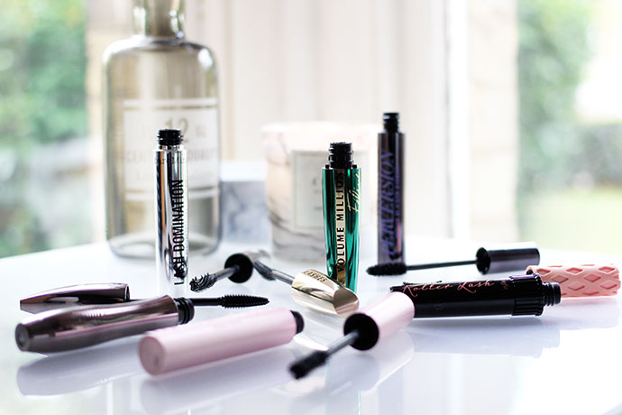 beauty blogger zoe newlove reviews her favourite mascaras including benefit roller lash, lancome hypnose volume a porter, bareminerals lash domination, loreal volume million lashes feline, urban decay perversion, too faced better than sex mascara