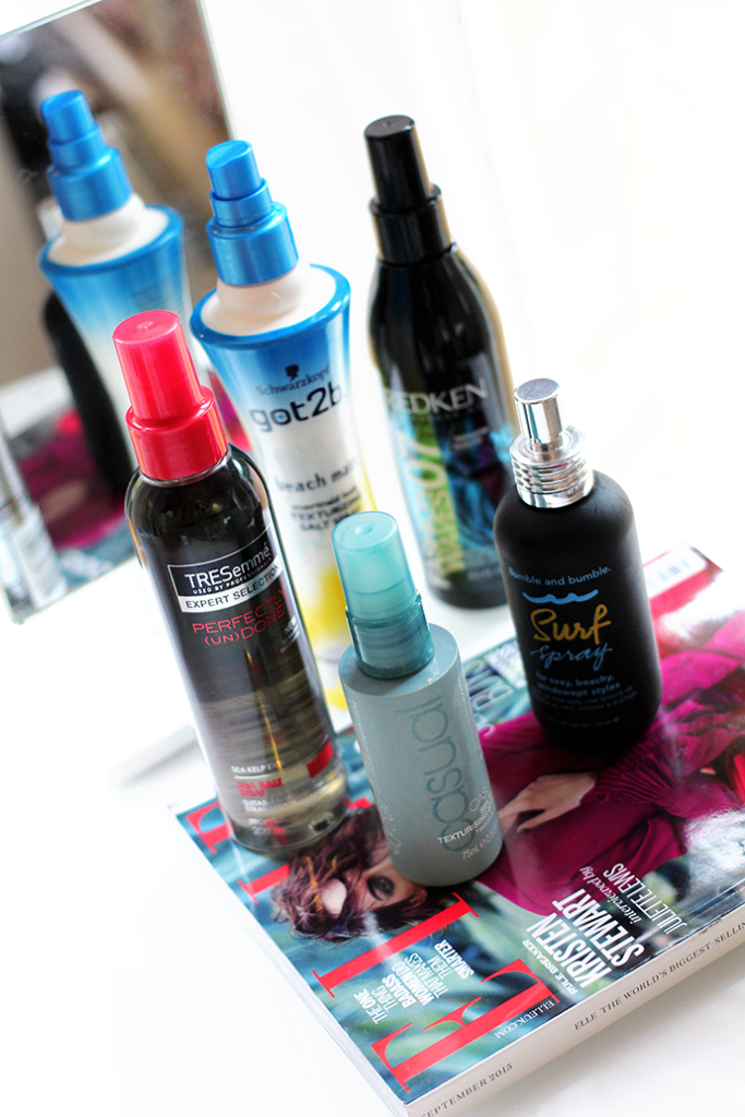 Beauty blogger Zoe Newlove reviews Sea Salt Sprays from Tresemme, Bumble and Bumble, Toni and Guy, Redken and Schwarzkopf got2b