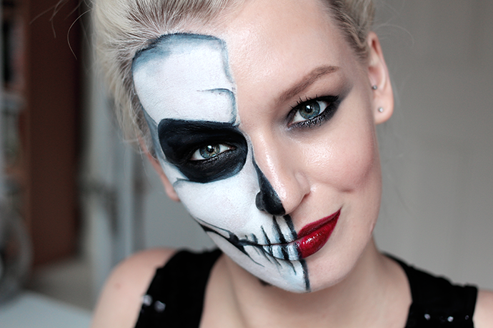 Halloween Glam Half Skull Make-up Tutorial Step by Step Guide by Beauty blogger Zoe Newlove
